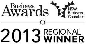 Winner of the NSW Business Chamber Regional Award for 'Excellence in Small Business'.