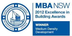 Master Builders Association 2012 Best Medium Density Over 5 Dwellings award was received for 'Sala' a multi-dwelling project located on North Harbour, Port Macquarie. This project features seven strata title waterfront homes taking in the magnificent views over the canals.