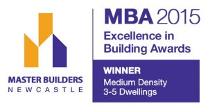 The Master Builders Association Excellence in Building Award for Medium Density Living (3-5 dwellings) was awarded to Pycon Homes
